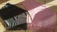 Tom Tailor 2x Large Scarves Shawls Fringe Grey Pink Bundle Job Lot
