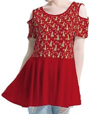 Christmas Women Cutout Shoulder Tunic Blouse Mini Dress b42 acc00792