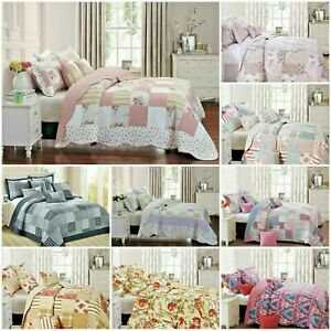 3pcs Patchwork  Quilted Bedspread Bed Throw Comforter with Pillow Shams
