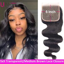 5x5 Transparent/Brown Lace Closure Peruvian Body Wave 100% Virgin Human Hair US
