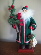 SANTA CLAUS  green red BLACK BEARS wood resin  CHRISTMAS DOLL mantle decoration