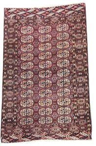 Oriental Carpet, antique handmade Turkmen wool rug in dark brown 5.6 x 3.4 FT