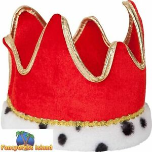 Red & Gold Soft King Queen Royal Crown Novelty Adults Mens Fancy Dress Accessory