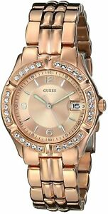 Guess Crystallized Quartz Movement Rose Gold Dial Ladies Watches U11069L1
