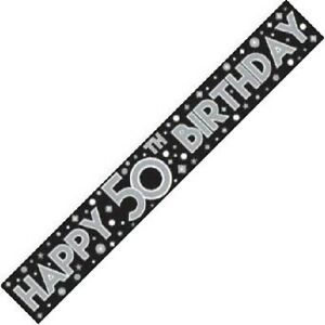 9ft Black & Silver Happy 50th Birthday Foil Banner Age 50 Party Decorations