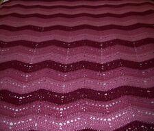 Rose Pink / Burgundy Crocheted Bedspread Afghan Queen ~ Chevron Pattern ~ Soft!