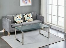Tempered Glass Coffee Table Stainless Steel Chrome Legs Living Room Furniture