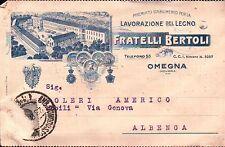 """CARTOLINA PUBB. """" FRATELLI BERTOLI LAVORAZIONE LEGNO """" OMEGNA NOVARA 1928 C5-609"""