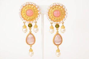 Ben-Amun Romaness pink gold glass pearl trim stone dangle earrings NEW $320