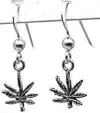 925 SOLID Sterling Silver Ganja Weed Pot Herb Cannabis Marijuana Hook Earrings