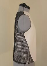 DKNY IVORY AND BLACK SLEEVELESS MESH PANEL TOP WITH CAMISOLE - SIZE SMALL