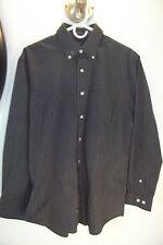Arrow Men's Button Up Shirt Long sleeve Black Gray Striped M 15-15 1/2 No Iron