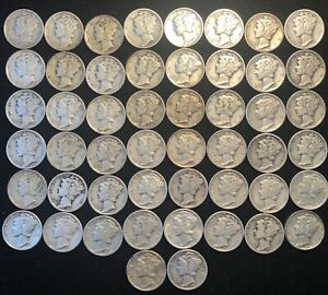 Roll of (50)  90% Silver Mercury Dimes NO RESERVE AUCTION