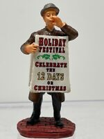 Lemax Christmas Village Figurine Resin - Guy Holding Festival Sign