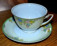 TEA CUP and SAUCER - Made in Japan - Gold Green floral - 1 set