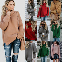 Womens Knitted Loose Sweater Jumper Turtle Neck Long Sleeve Winter Pullover Tops