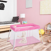 Portable Baby Playpen Playard Mattress Safety Baby Play Pen Yard W/ Carry Bag