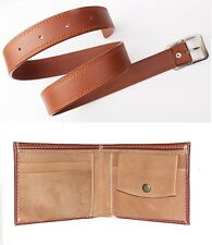 Combo of Men's Faux Leather Belt Tan Color and Brown Wallet with FREE LED LIGHT