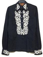 Tory Burch Embroidered Navy Longsleeve Shirt