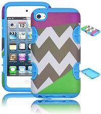 For iPod Touch 4 Hybrid Rugged Soft Light Blue Cover Hard Chevron Tri Split Case