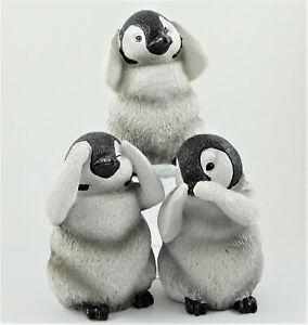 Three (3) Wise Penguins See Hear Speak No Evil Figurine Penguin Chicks Statue