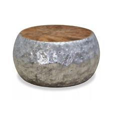 vidaXL Coffee Table Aluminium Teak (60 x 60 x 30 cm) - (8718475533368)
