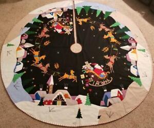 "72"" Handmade Wool Santa Sleigh Reindeer CHRISTMAS TREE SKIRT Embroidered Beaded"