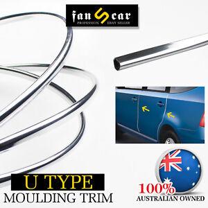 U Shape Chrome Molding Trim Strips Decorate Auto Door Bonnet Edge Protection 6Ms
