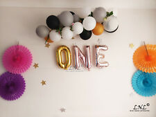 One Rose gold balloons silver letters birthday banner garland letter baby shower