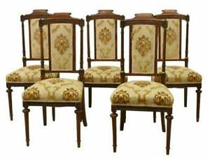 Antique Chairs, Dining Side, Four of Five (4) or (5) Louis XVI Style Upholstered