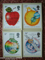 PHQ Stamp cards No 100 Sir Isaac Newton 1987 4 card set Mint Condition