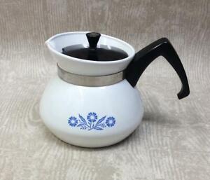 Vintage Pyrosil Coffee Pot 3 Cups Stove Top Tea Jug JAJ Cornflower Corningware
