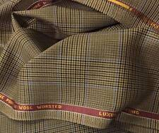 Luxury Suiting Jacketing Light Brown With Blue Check 3.5Mts