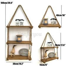 1-3 Layer Rustic Wooden Hanging Rope Shelf - Handmade Solid Wood Floating Shelf