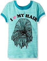 Star Wars I Love My Hair Chewbacca T Shirt Big Girls Size S L XL Blue Disney