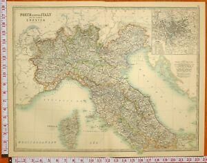 1900 LARGE ANTIQUE MAP NORTH & CENTRAL ITALY EMILIA CORSICA UMBRIA PIEDMONT