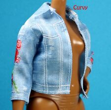 Barbie Fashionistas Blue Denim Red Rose Print Jacket CURVY TALL PETITE REGULAR