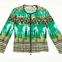 Joseph Ribkoff Women's Full-Zip Cardigan Jacket Embellished Green/Gold • Size 6