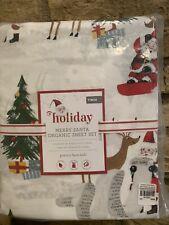 Pottery Barn Kids Merry Santa Twin Sheet Set Christmas Heritage Organic COTTON