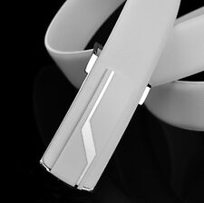 Men's Genuine Leather Luxury Dressy Evening Party Ratchet Belt Black / White