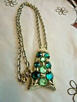 """Vintage 24"""" Gold Tone Chain Necklace & Large Pendant With Green Rhinestones"""