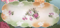 Beautiful Vintage German Tray With Scalloped Edge & Embossing Pink, Green, Peach