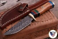 CUSTOM HAND FORGED DAMASCUS STEEL SKINNER KNIFE W/ WOOD BRAS GUARD HANDLE Q 365