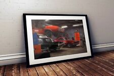 """Muscle Car Garage Mix - """"Cars At The Spa"""" - 24""""x36"""" HD Muscle Car Poster Print"""