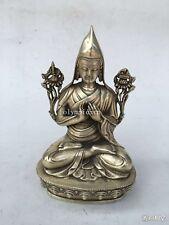 8'' bronze silver-plated carvings Tibetan Buddhism Gelug originator Tsongkhapa