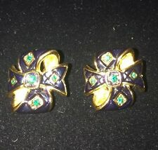 Joan Rivers Gold Pl Blue Green Enamel Green RS Bow Ribbon Clip Earrings Exc!