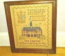 Antique or Vintage Sampler Cross Stitch Embroidery Framed Williamsburg VA Sewing