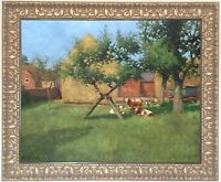Cattle Grazing Antique Oil Painting by Tom Trythall Rowe (British, 1856–1940)