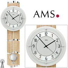 AMS 5214 Radio Reloj de pared con péndulo Parte Posterior Madera óptica Sonoma