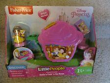 NIB Fisher Price Little People Disney Princess Belle's Fold go Rose Chip castle